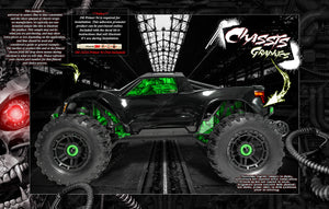TRAXXAS MAXX 4S 1/10 CHASSIS / SHOCK TOWER / WINDOW 'MACHINEHEAD' SKIN DECAL GRAPHICS KIT - Darkside Studio Arts LLC.