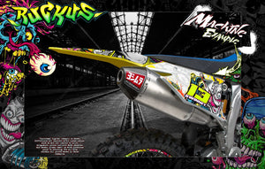 "1993-2000 SUZUKI RM125 RM250 2-STROKE GRAPHICS WRAP DECAL SKIN KIT ""RUCKUS"" - Darkside Studio Arts LLC."
