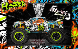 "TRAXXAS X-MAXX GRAPHICS WRAP DECALS ""HUSTLER"" FITS PROLINE FORD RAPTOR, CHEVY SILVERADO, BRUTE BASH & STOCK BODY - Darkside Studio Arts LLC."