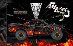 TRAXXAS UNLIMITED DESERT RACER BODY & CHASSIS CAGE SKIN WRAP DECAL KIT 'HELL RIDE' - Darkside Studio Arts LLC.