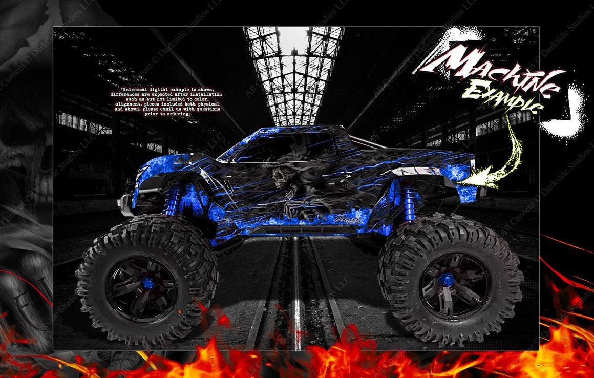 "TRAXXAS X-MAXX GRAPHICS WRAP DECALS ""HELL RIDE"" FITS PROLINE FORD RAPTOR, CHEVY SILVERADO, BRUTE BASH & STOCK BODY - Darkside Studio Arts LLC."