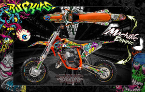 'RUCKUS' GRAPHICS WRAP DECAL KIT FITS KTM 2016-2019 SX50 SX65 KTM65 KTM50 - Darkside Studio Arts LLC.
