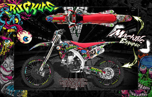 "HONDA 2009-2019 CRF250R CRF450R CRF250F GRAPHICS DECALS WRAP ""RUCKUS"" CRF450R FOR OEM PLASTICS - Darkside Studio Arts LLC."