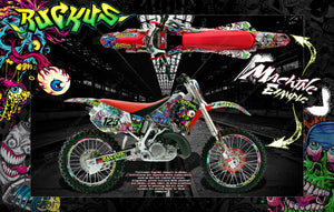 "HONDA 1988-1999 CR125 CR250 GRAPHICS WRAP ""RUCKUS"" DECAL KIT WITH RIM GRAPHICS - Darkside Studio Arts LLC."