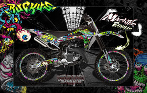 HUSQVARNA MOTORCYCLE WR SERIES 1993-2005 GRAPHICS WRAP DECALS 'RUCKUS' WR125 WR250 - Darkside Studio Arts LLC.