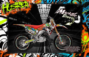 "HONDA 2002-2007 CR125 CR250 POLISPORT PLASTICS GRAPHICS WRAP ""HUSTLER"" DECAL KIT RIM GRAPHICS - Darkside Studio Arts LLC."