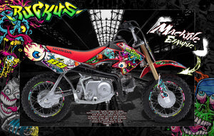 "HONDA 2004-2020 CRF50 PITBIKE GRAPHICS DECALS ""RUCKUS"" WRAP CLOWNS ZOMBIE - Darkside Studio Arts LLC."
