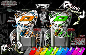 "KAWASAKI KFX450R GRAPHICS WRAP DECAL KIT ""AMPED"" FITS OEM PLASTICS / PARTS - Darkside Studio Arts LLC."