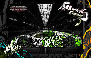 "TRAXXAS XO-1 HOP-UP GRAPHICS WRAP DECALS ""AMPED"" FITS TRAXXAS 6411 CLEAR LEXAN BODY - Darkside Studio Arts LLC."