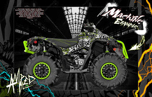 "CAN-AM RENEGADE 500 850 1000 XMR ""AMPED"" GRAPHICS WRAP DECALS KIT FULL COVERAGE SET - Darkside Studio Arts LLC."