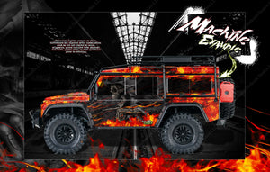 "TRAXXAS TRX-4 GRAPHICS WRAP DECALS ""HELL RIDE"" FITS DEFENDER BLAZER AND SPORT - Darkside Studio Arts LLC."