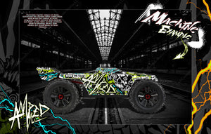 "ARRMA KRATON 8s / 6s GRAPHICS WRAP DECALS ""AMPED"" HOP-UP FITS STOCK LEXAN BODY - Darkside Studio Arts LLC."