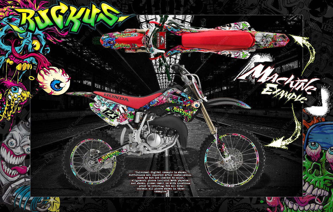 "HONDA 1993-2012 CR80 CR85 CR85R GRAPHICS WRAP ""RUCKUS"" DECAL GRPAHICS KIT WITH RIM GRAPHICS - Darkside Studio Arts LLC."