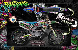 "GRAPHICS WRAP FOR 2010-2019 YZF250 YZF450 AND YZ250FX YZ450FX ""RUCKUS"" WITH RIM DECALS - Darkside Studio Arts LLC."