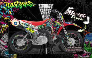 "HONDA 2013-2020 CRF110F CR125F GRAPHICS DECALS ""RUCKUS"" ZOMBIES WRAP - Darkside Studio Arts LLC."