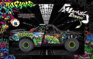 TRAXXAS UNLIMITED DESERT RACER BODY & CHASSIS CAGE SKIN WRAP DECAL KIT 'RUCKUS' - Darkside Studio Arts LLC.