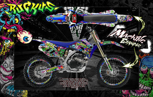 "YAMAHA 1993-2019 YZ65 YZ80 YZ85 ""RUCKUS"" NUMBER PLATE AND FENDER WRAP WITH RIM PROTECTOR GRAPHICS - Darkside Studio Arts LLC."