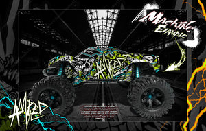 "TRAXXAS X-MAXX GRAPHICS WRAP DECALS ""AMPED"" FITS PROLINE FORD RAPTOR, BRUTE BASH & STOCK BODY - Darkside Studio Arts LLC."