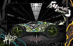 TRAXXAS E-REVO / E-REVO 2.0 / RUSTLER GRAPHICS WRAP 'AMPED' FOR OEM BODY PARTS - Darkside Studio Arts LLC.