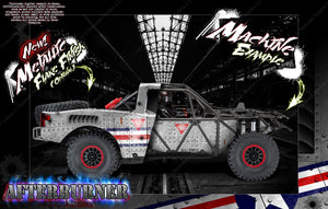 TRAXXAS UNLIMITED DESERT RACER BODY & CHASSIS CAGE SKIN WRAP DECAL KIT 'AFTERBURNER' - Darkside Studio Arts LLC.