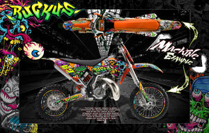 'RUCKUS' GRAPHIC WRAP FITS KTM 1998-2008 50SX 65SX KTM65 KTM50 SX65 SX50 - Darkside Studio Arts LLC.