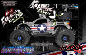 "TRAXXAS MAXX 4S 1/10 HOP-UP GRAPHICS WRAP DECALS ""AFTERBURNER"" FITS STOCK BODY TRA8914 - Darkside Studio Arts LLC."