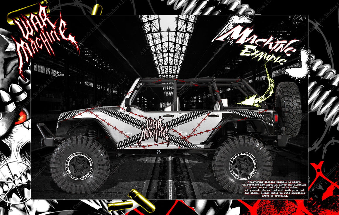 TRAXXAS BANDIT JATO SLASH STAMPEDE TRX-4 HOP UP BODY GRAPHIC SKIN WRAP ACCENT KIT 'WAR MACHINE' - Darkside Studio Arts LLC.
