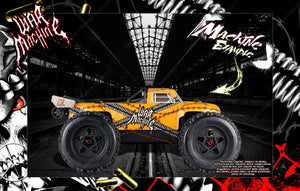 ARRMA OUTCAST KRATON TALION TYPHON HOP UP BODY GRAPHIC SKIN WRAP ACCENT KIT 'WAR MACHINE' - Darkside Studio Arts LLC.