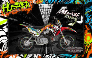 "HONDA 2013-2020 CRF110F CR125F GRAPHICS DECALS ""HUSTLER"" WRAP SKIN - Darkside Studio Arts LLC."