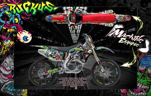"HONDA 2004-2009 CRF250 GRAPHICS WRAP ""RUCKUS"" DECAL STICKER KIT WITH RIM GRAPHICS CRF250R - Darkside Studio Arts LLC."