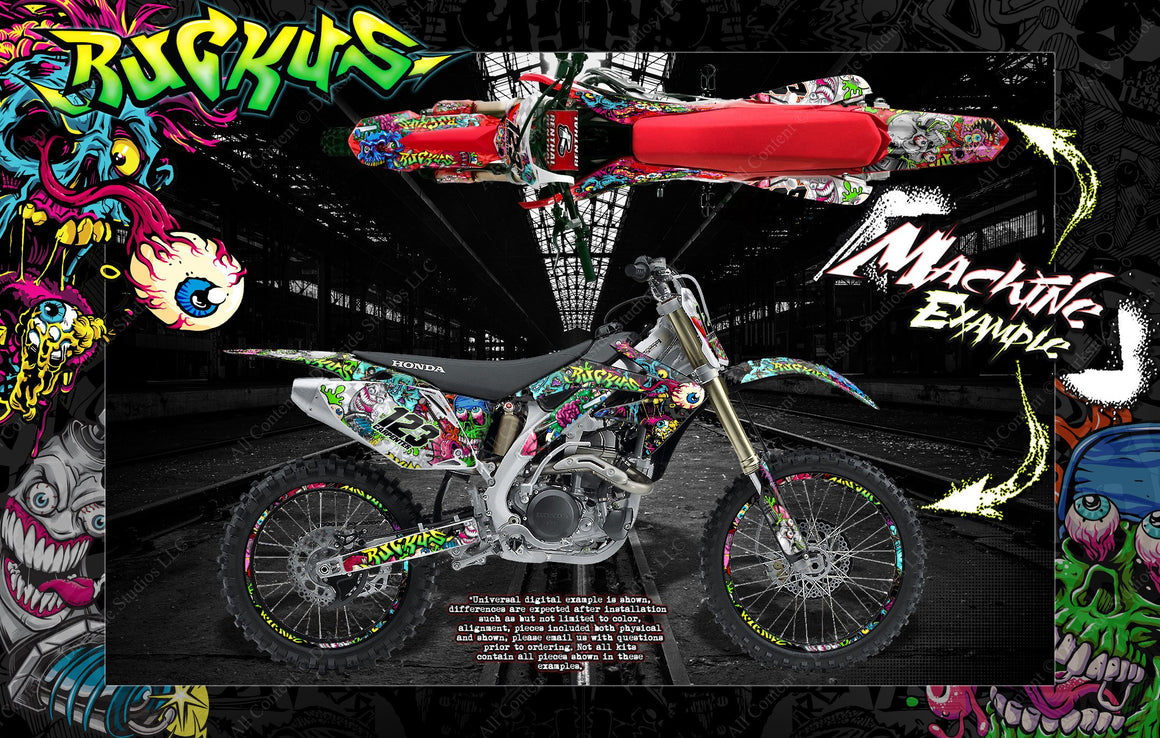 "HONDA 2002-2008 CRF450 GRAPHICS WRAP ""RUCKUS"" DECAL GRPAHICS KIT WITH RIM GRAPHICS - Darkside Studio Arts LLC."