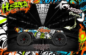 "ARRMA KRATON 8s / 6s GRAPHICS WRAP DECALS ""HUSTLER"" HOP-UP FITS STOCK LEXAN BODY - Darkside Studio Arts LLC."
