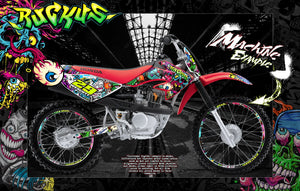"HONDA 2004-2016 CRF70 CRF80 CRF100 GRAPHICS DECALS ""RUCKUS"" ZOMBIES WRAP - Darkside Studio Arts LLC."