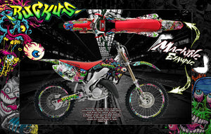 "HONDA 2000-2013 CR125 CR250 GRAPHICS WRAP ""RUCKUS"" DECAL GRPAHICS KIT WITH RIM GRAPHICS - Darkside Studio Arts LLC."