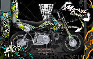 "HONDA 2004-2020 CRF50 PITBIKE GRAPHICS DECALS ""AMPED"" WRAP CUSTOMIZABLE - Darkside Studio Arts LLC."