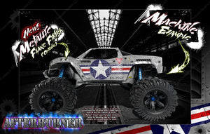 "TRAXXAS X-MAXX GRAPHICS WRAP DECALS ""AFTERBURNER"" FITS PROLINE FORD RAPTOR, CHEVY SILVERADO, BRUTE BASH & STOCK BODY - Darkside Studio Arts LLC."
