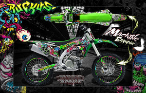 "KAWASAKI 2004-2018 KXF250 GRAPHICS DECALS WRAP ""RUCKUS"" FOR OEM PLASTICS - Darkside Studio Arts LLC."