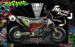 KTM 2008-2020 SMC690-R LC4 SMC-R 690 SUPERMOTO GRAPHICS WRAP DECAL KIT 'RUCKUS' - Darkside Studio Arts LLC.