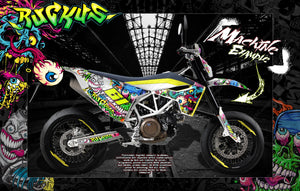 HUSQVARNA 701 SUPERMOTO / ENDURO GRAPHICS WRAP 'RUCKUS' DECAL KIT - Darkside Studio Arts LLC.