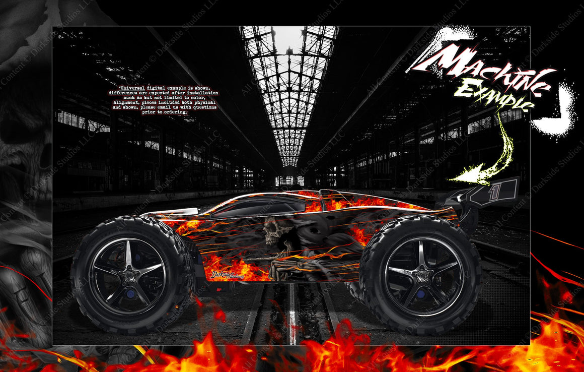 TRAXXAS E-REVO / E-REVO 2.0 / RUSTLER GRAPHICS WRAP 'HELL RIDE' FOR OEM LEXAN BODY PARTS - Darkside Studio Arts LLC.