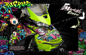 SKI-DOO GEN 4 PARTIAL WRAP GRAPHICS KIT FOR MXZ SUMMIT RENEGADE ADRENALINE 'RUCKUS' - Darkside Studio Arts LLC.