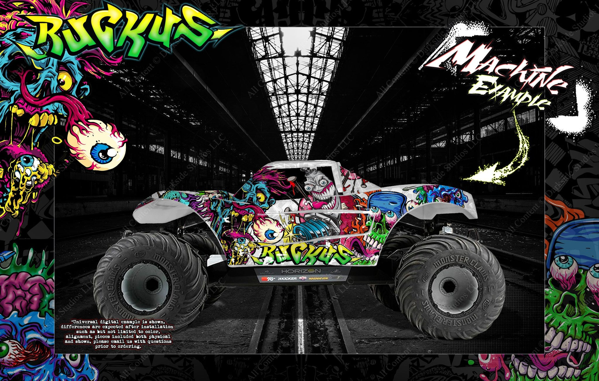 LOSI MTXL MONSTER TRUCK WRAP DECAL HOP-UP CUSTOM KIT PARTS 'RUCKUS' FITS  LOS250015 BODY