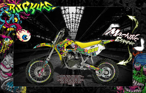 "SUZUKI 1995-2019 RM65 RM80 RM85 GRAPHICS WRAP ""RUCKUS"" SKIN DECAL KIT - Darkside Studio Arts LLC."