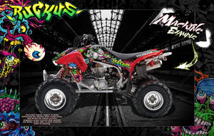HONDA TRX450R GRAPHICS WRAP 'RUCKUS' FITS OEM AND MOST AFTERMARKET FENDERS AND PARTS - Darkside Studio Arts LLC.