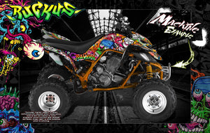 'RUCKUS' GRAPHICS WRAP FOR YAMAHA RAPTOR 660 YFM660 QUAD DECAL KIT - Darkside Studio Arts LLC.