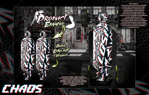 LOSI 22SCT 3.0 CHASSIS WRAP SKIN PROTECTION KIT 'CHAOS' FITS TLR231059 - Darkside Studio Arts LLC.