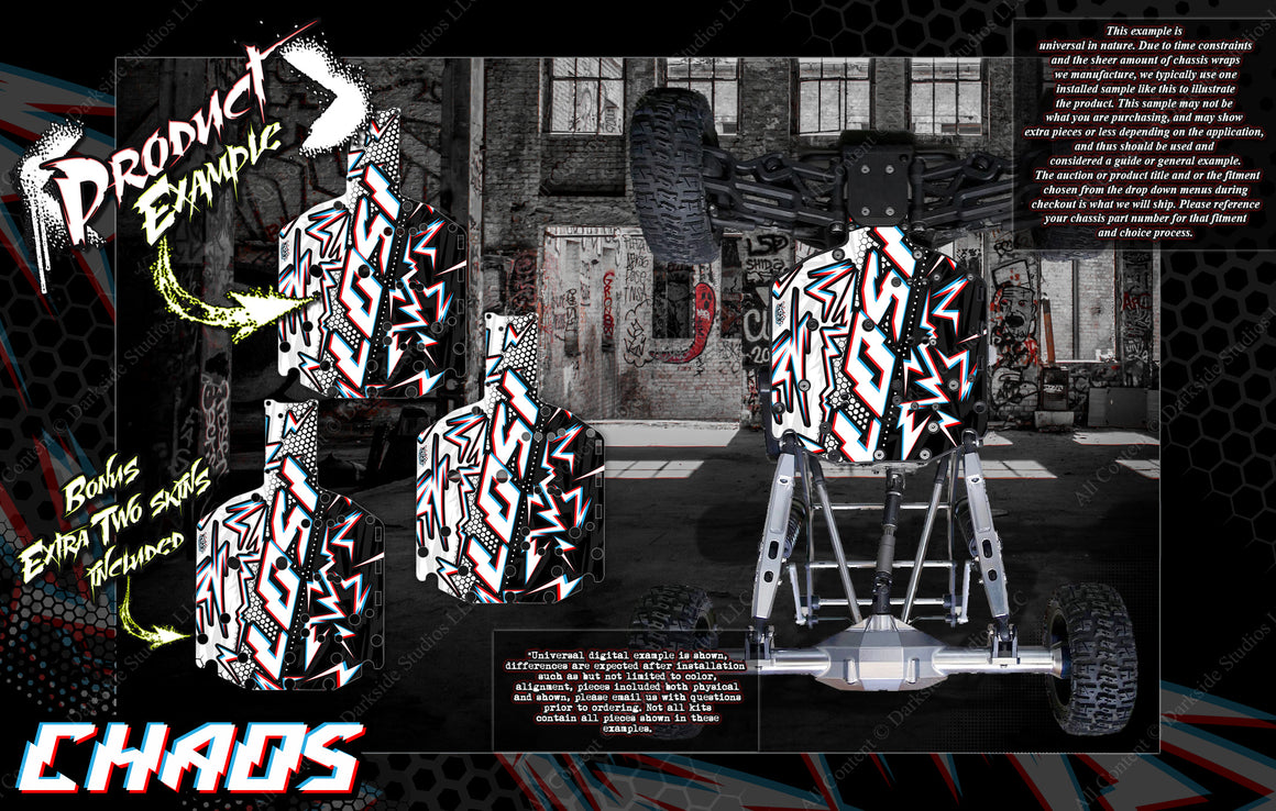 'CHAOS' CHASSIS WRAP DECAL KIT FITS LOSI ROCK REY / BAJA REY 1/10 HOP-UP PROTECTION - Darkside Studio Arts LLC.