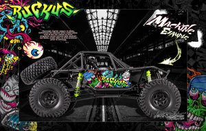 "AXIAL RR10 BOMBER GRAPHICS WRAP DECALS ""RUCKUS"" KIT FITS OEM BODY AX90053 BLACK EDITION - Darkside Studio Arts LLC."