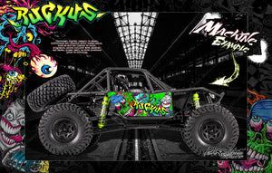 "AXIAL RR10 BOMBER GRAPHICS WRAP DECALS ""RUCKUS"" KIT FITS OEM BODY AX90053 GREEN EDITION - Darkside Studio Arts LLC."