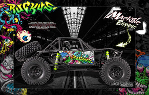"AXIAL RR10 BOMBER GRAPHICS WRAP DECALS ""RUCKUS"" KIT FITS OEM BODY AX90053 WHITE EDITION - Darkside Studio Arts LLC."